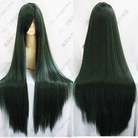234 SAILOR MOON Pluto Meiou Setsuna LONG STRAIGHT DARK GREEN COSPLAY WIG 100CM