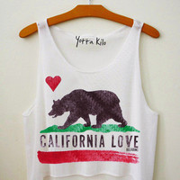 CA Flag Crop Tank Top