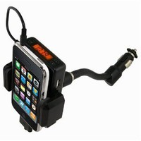 5-in-1 Car Charger + Fm Transmitter / Holder Full Range Frequency Fm Transmitter Car Kit for Apple iPod (Black)
