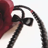 RESERVED for Heather Black pearl necklace by PinkCupcakeJC