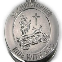 "St. Christopher ""Ride with Me"" Motorcycle Medal--Keychain, BH010:Amazon:Clothing"