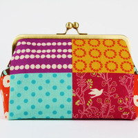 Cosmetic pouch Echino patchwork in bright metal by octopurse
