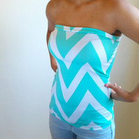 Tiffany Blue Chevron Stretch tube top
