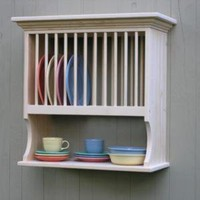 Kitchen Wood Plate Rack 12 Plate Holder and by DoorCountyWoodworks