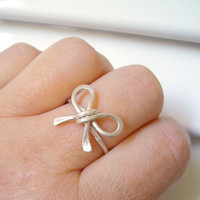Cute Bow Ring Hammered Sterling Silver Ring Wire by LiuRokSilver