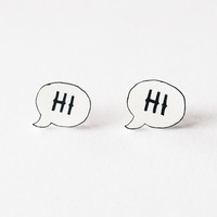 Hi Speech Bubble Stud Earrings Made To Order by rareindeed