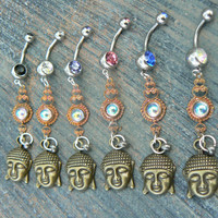 blue buddah belly ring  karma  in belly dancer indie gypsy hippie morrocan boho and hipster style