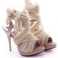High Heel Chiffon Lace Up Sandals for Women E91