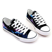 Hand Drawing Starry Sky Canvas Shoes For Lovers