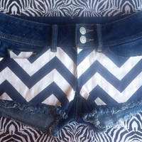 Dark blue chevron denim shorts by AngeliqueMerici on Etsy