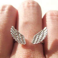 Feather Angel Wings Adjustable Ring in Silver with Textured Detail | dotoly - Jewelry on ArtFire