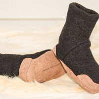Baby Slipper Boots, Eco Friendly Merino Wool And Leather.  Sizes: Preemie - 6M, 0-12M & 12-24M, Sandy Night