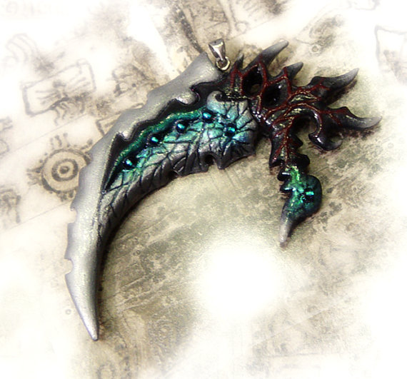 Fantasy pendant ice scythe fantasy gothic pendant by UraniaArt