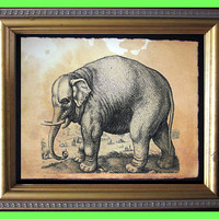 Elephant Vintage Art Print on Tea Stained Paper - Vintage Art Print