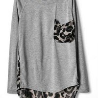 Women's Gray Black Leopard Print Chiffon T-shirt