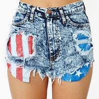 Acid Flag Cutoff Shorts
