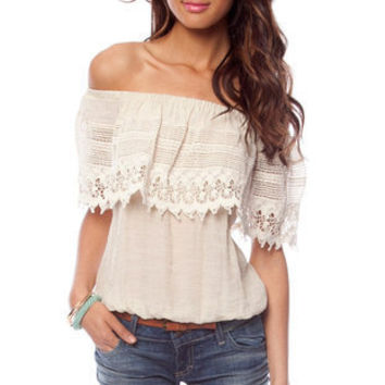 Emma Off Shoulder Top in Cream :: tobi