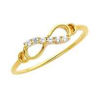 14K Yellow Gold High Polish Finish Infinity Round-cut Top Quality Shines CZ Cubic Zirconia Ladies Promise Ring Band:Amazon:Jewelry