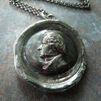 Chopin. Antiqued Wax Seal Necklace. Wax Seal Jewelry.