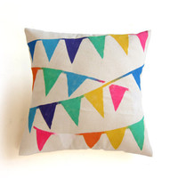 Triangle Bunting Banners Hand Stenciled Natural Cotton Duck Wooden Button Envelope Pillow Cover in Multicolored Rainbow