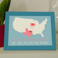 Framed Personalized USA art print map long distance friendship or love