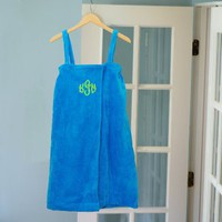 Personalized Aqua Terry Cloth Bath Wrap