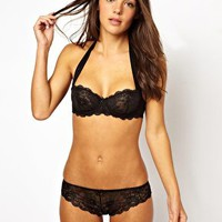 ASOS Boudoir Lace Ribbon Halter Lingerie Set at asos.com