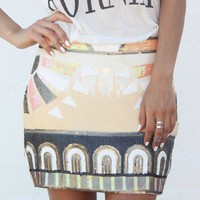 Peachy Aztec Sequin Skirt