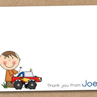 Boys Truck Cards Personalized Custom set of 8 by Luv2ScrapForU