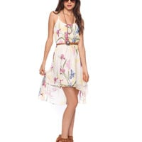 High-Low Floral Dress w/Belt