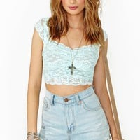 Scalloped Lace Crop Top - Pale Mint