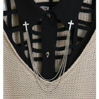 Rhinestone Cross Collar Brooch