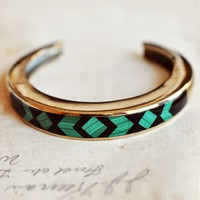Pamela Love Malachite and Onyx Inlay Bronze Cuff