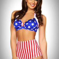 American Pinup - 2 PC. High Waist Pinup Swimsuit Set in Patriotic Stars & Stripes Print