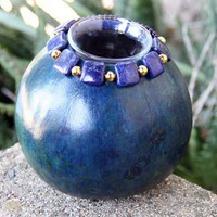 Gourd Candle with Lapis and Gold Beads | gaylasart - Candles on ArtFire
