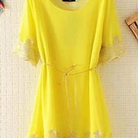 Cute Embroided Chiffon Lace Top for Summer