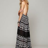Free People Womens Printed Triangle Top Maxi Dress - Black Combo,
