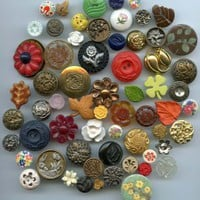 63 plant life buttons leaves flowers various materials