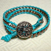 Bohemian Turquoise Leather and Copper Chain Double Wrapped Bracelet