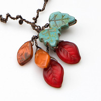 Red Bead Necklace, Leaf Necklace, Nature Jewelry, Gifts for her under 30 dollars