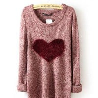 Wine Red Love Hearts Long Sleeve Sweater