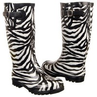 NIB Sexy Trendy Black & White Zebra Ladies Rubber Rain Boots w/Buckle by Nomad