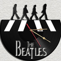 Beatles in Abbey Road Theme Vinyl Record Clock Upcycled Vinyl Records Great Gift