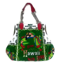 Upcycled Vintage Hawaii Fabric Handbag Kona Coffee