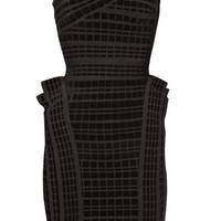 Herve Leger Asymmetric velour bandage dress - &amp;#36;210.00