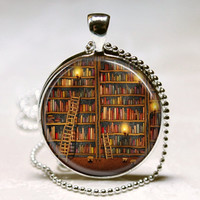 Library Book Necklace Glass Dome Art Pendant with Ball Chain Included Librarians, Writers, Bibliophiles, Book Worms, Teachers, Reading