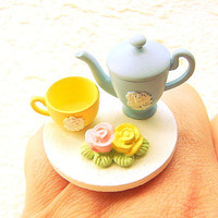 Kawaii Cute Food Ring Elegant Tea Time by SouZouCreations on Etsy