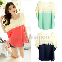 Women Splice Lace Chiffon Blouse Loose Short Sleeve Candy Color Shirt Tops