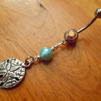Belly button ring  Sand dollar and blue pearl by ChelseaJewels
