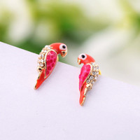 Lovely Parrot Rhinestone Earrings NJ81